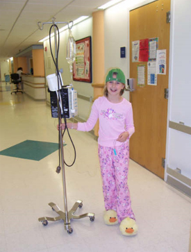 Delaney getting chemo in the hospital.